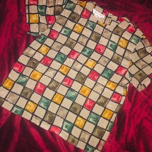 Vintage Jones New York Color Block Silk Shirt